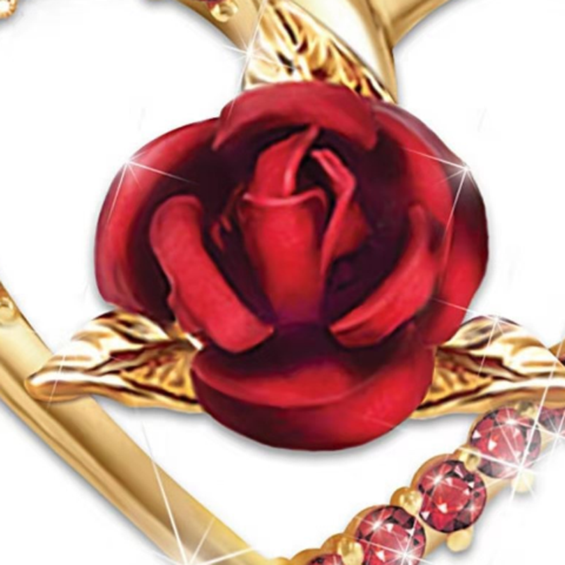 2019 Fashion Rose Flower Pendant Necklace Women Crystal Charms Heart Necklace Wedding Valentine Gifts Ladies Jewelry in Pendant Necklaces from Jewelry Accessories