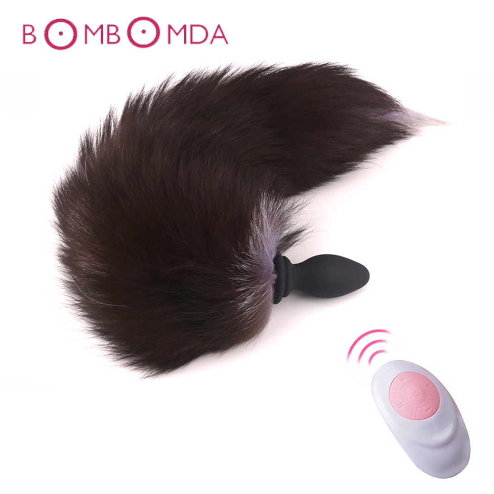<font><b>Fox</b></font> Tail Anal Plug Vibrator By <font><b>Remote</b></font> Control Anus Dilator For Couples Adult Game Cosplay Accessories Vibrating <font><b>Dildo</b></font> Butt Plug image