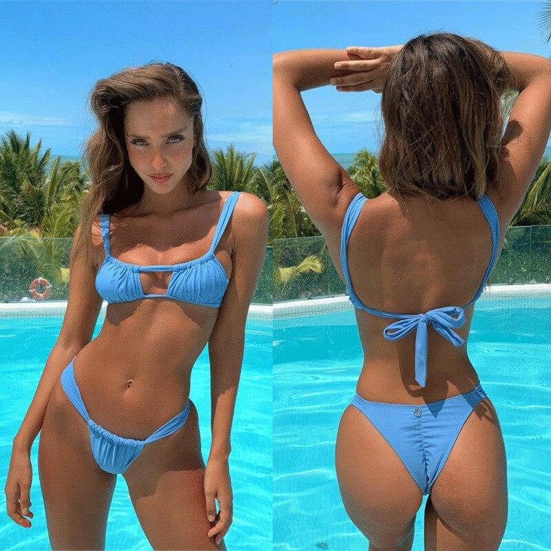 Women Push-up Padded Bra Solid Color Fashion Sexy Bandage Bikini Set Swimsuit Triangle Swimwear Bathing