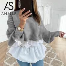 Women Knitted Sweater Splice O Neck Lantern Long Sleeves Raglan Sleeve Ribbed Pullovers 2019 Autumn Winter Knitting Tunic Tops(China)