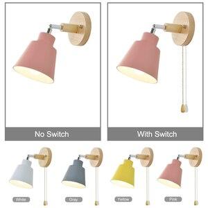Image 3 - Da parete in legno luci da comodino lampada da parete con interruttore a parete sconce applique da parete moderno per camera da letto soggiorno Nordic macaron sterzo h