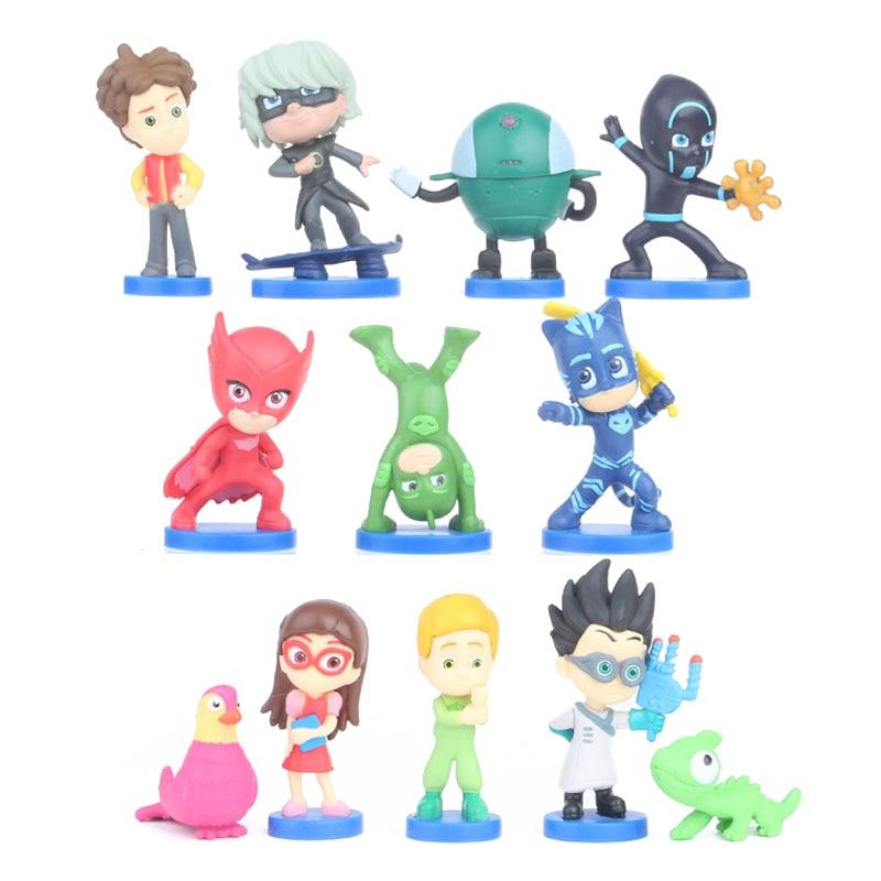 12pcs/set PJ Masks Juguete Cartoon Anime Figures 3-6cm Toy Pj Mask Catboy Owlette Gekko Action Figure Toys For Children Gift S28