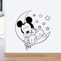 Disney durmiendo Mickey Luna Pared de estrellas de los niños pegatinas de casa habitación decoración dormitorio pared dibujos animados pegatina Mural de vinilo arte Diy Poster