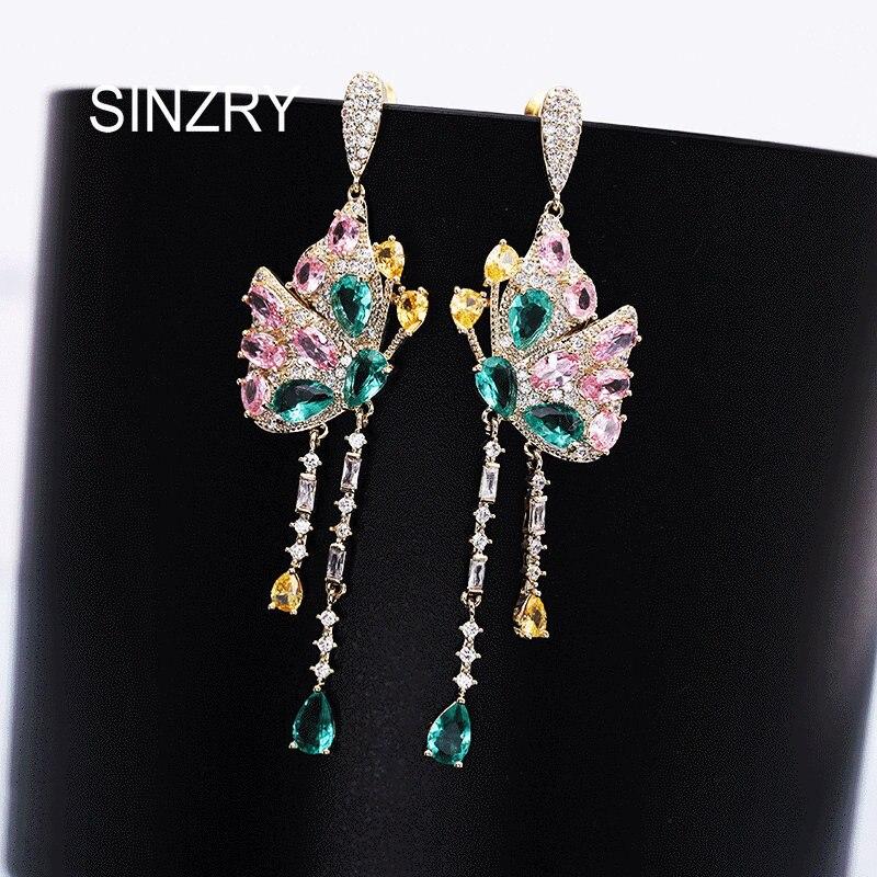 Sinzry Elegant Butterfly Tassel Earrings Cubic Zirconia Dazzling Wedding Earrings For Women