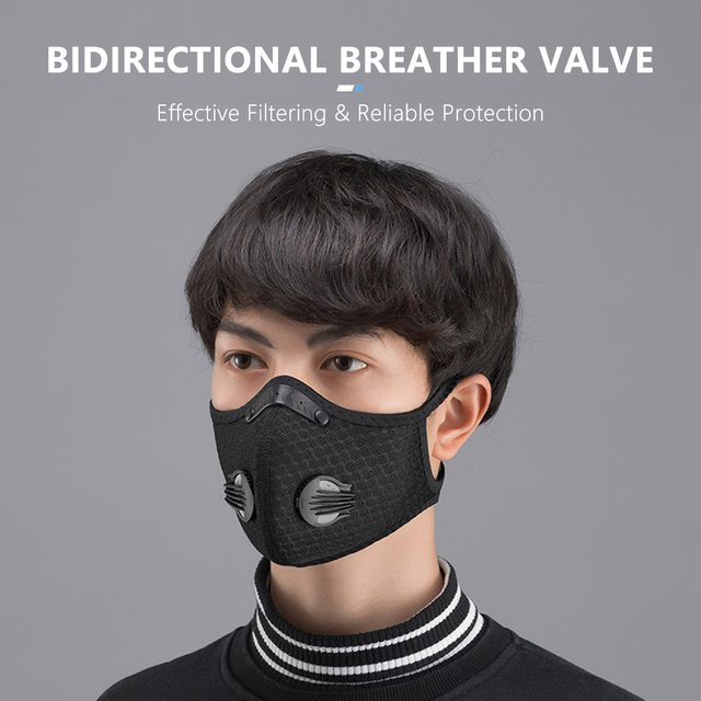 Mouth Mask PM2.5 Filter Windproof with Breathable Valve Mouth-muffle Anti-foga Dustproof Flu Reusable Cycling Face Mask 4