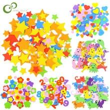 Figuras geométricas de espuma para niños, pegatinas de espuma con forma de estrella, corazón, animales, juguete para chico, aprendizaje temprano, manualidades de guardería, GYH