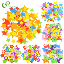 Geometric Figure Foam Sticker Star Heart Animals Foam Stickers Kid Toy Early Educational learning kindergarten Craft Diy Toy GYH