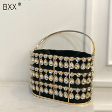 [BXX] Hollow Out Pearl Bucket Evening Bag Women 2020 Luxury Designer Handmade Al
