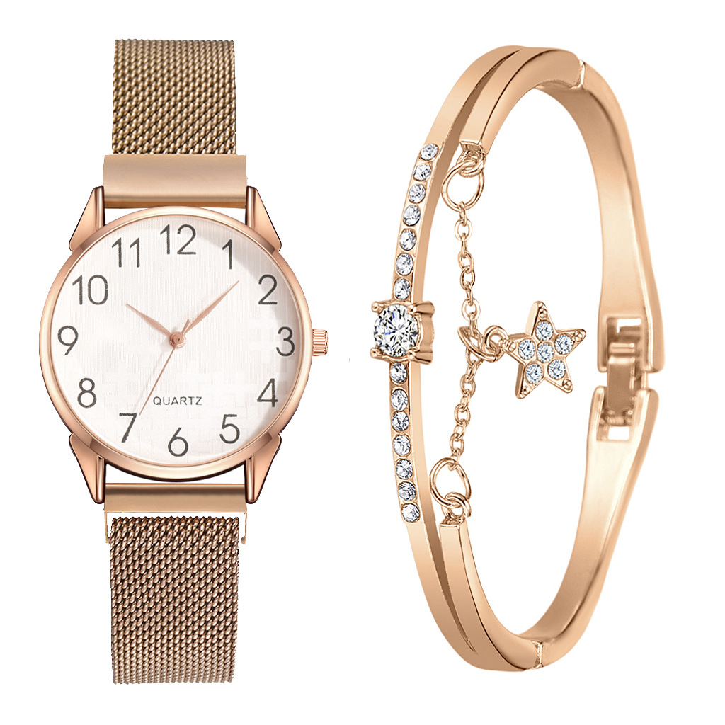 Simple Rose Gold Women Watches Magnet Buckle Luxury Bangle Watch Women Clock Ladies Bracelet Watch 2pcs Set Relogio Feminino