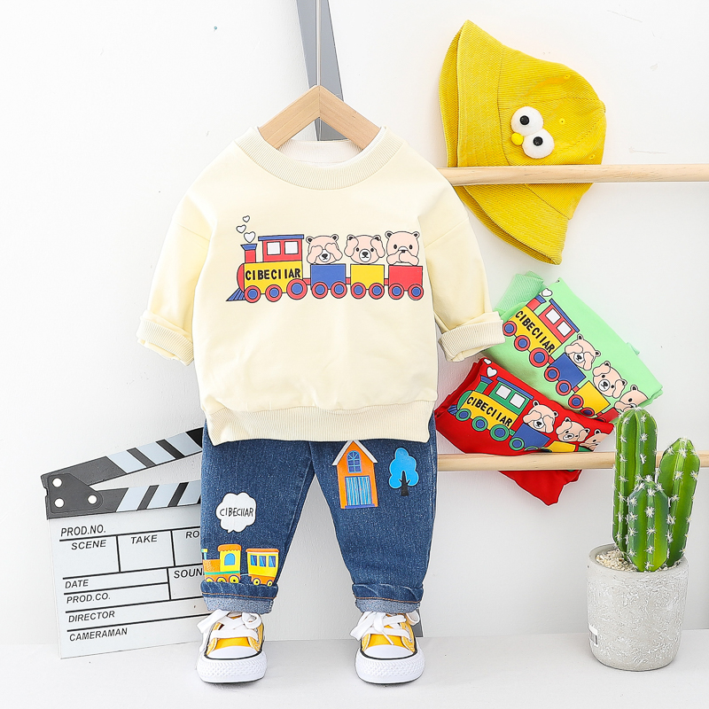 HYLKIDHUOSE 2020 Spring Baby Girls Boys Clothing Sets Toddler Infant Clothes Cartoon Train T Shirt Jeans Children Casual Costume