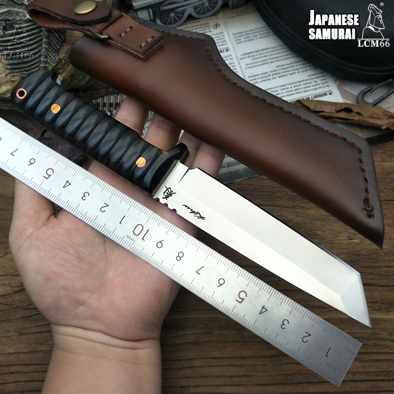 LCM66 Japanese tactical knife Fixed Blade Knives DC53 steel Ebony handleOutdoor camping hunting knife series tool samurai style