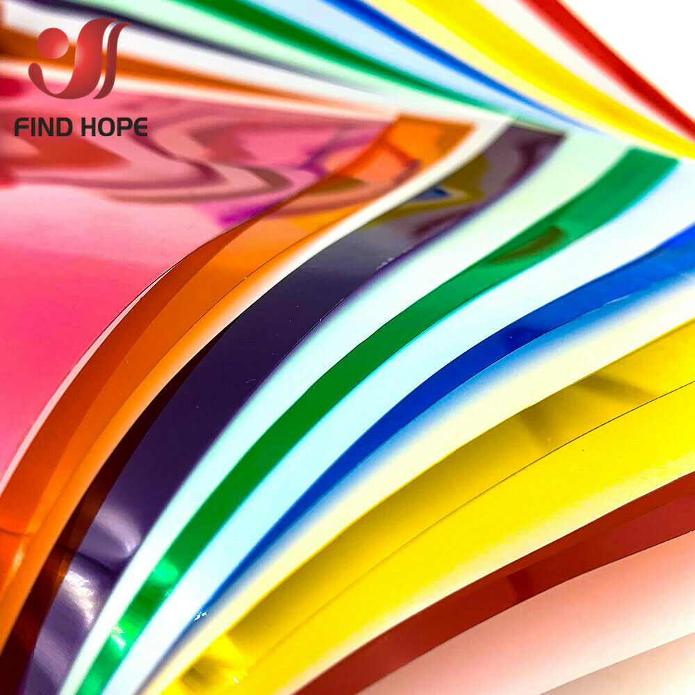 A4 PET Transparent Colourful Window Film Stain Glass Tint Self Adhesive Decor DIY