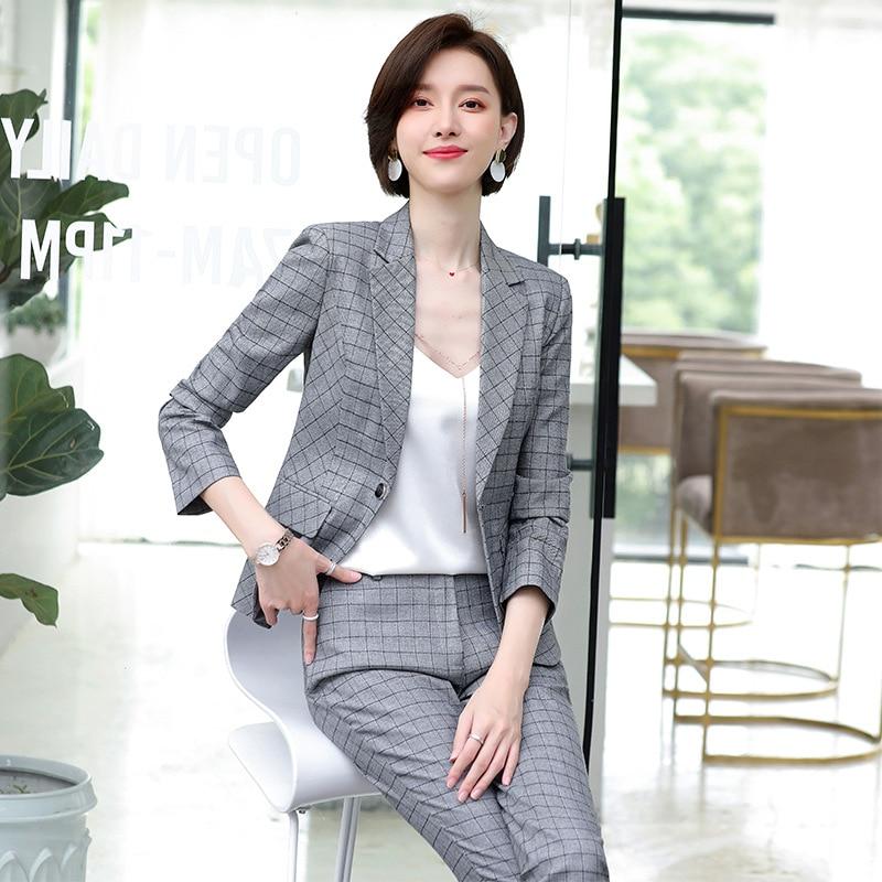 Business trouser suit Temperament casual women's plaid blazer Slim-fit pants 2019 new ladies office two-piece Work clothes
