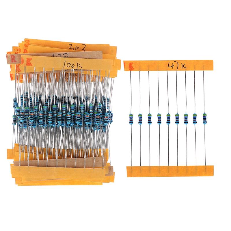300pcs/set 30 Kinds 1/4W Resistance 1% Metal Film Resistor Pack Assorted Kit 1K 10K 100K 220ohm 1M Resistors
