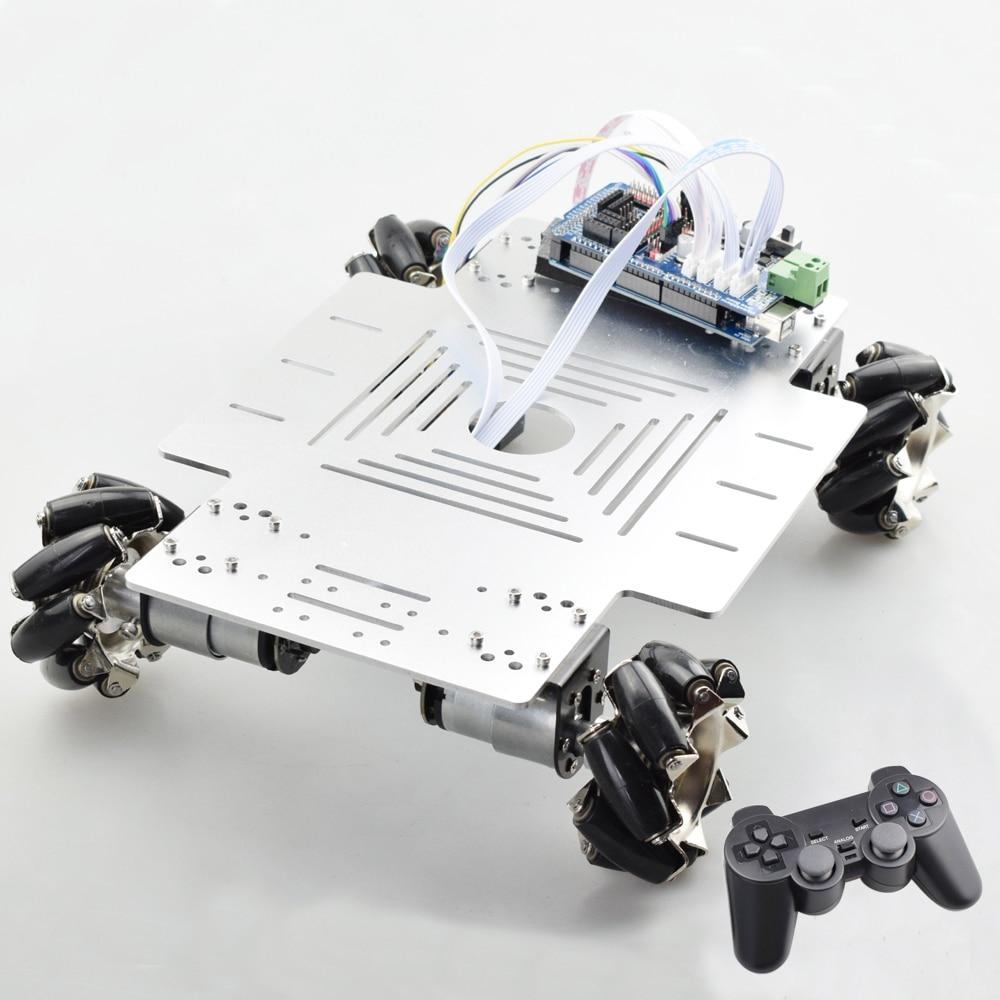 Plate-forme intelligente d'omni de Kit de châssis de voiture de Robot de roue de Mecanum de RC de la grande charge 25KG avec le contrôleur PS2 Mega2560 pour le projet d'arduino