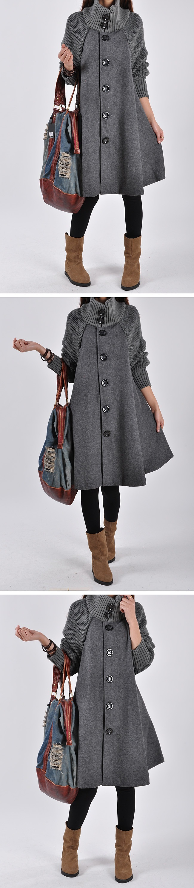 Autumn Winter Coat Women 2019 Casual Vintage Patchwork Cloak Plus Size Coats Female Elegant Warm Black Long Coat casaco feminino 67
