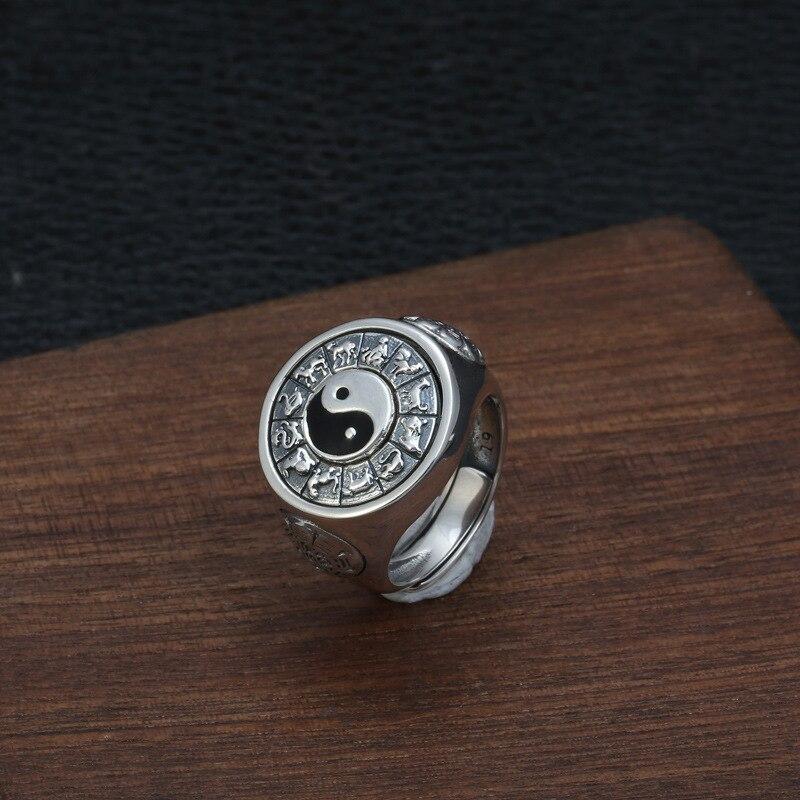 Argent 925 bijoux Yin et Yang anneau ouvert Style chinois 12 zodiaque bague en argent Sterling pour hommes chanceux accessoire cadeau de fête