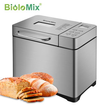 Biolomix Stainless Steel 1KG 17-in-1 Automatic Bread Maker 650W Programmable Bread Machine with 3 Loaf Sizes Fruit Nut Dispenser bread machine the bread maker uses fully automatic and multifunctional intelligence sprinkled with fruit cake