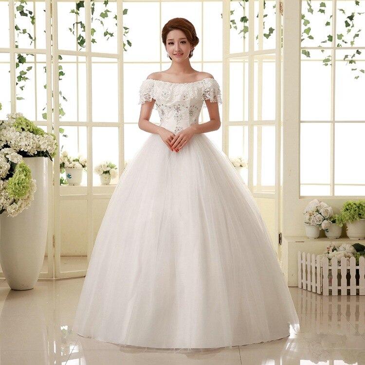 Korean StyleTassel Sleeve Scoop Wedding Dress Vestidos De Novia Real Photo Plus Size Princess Brid Lace With Flowers