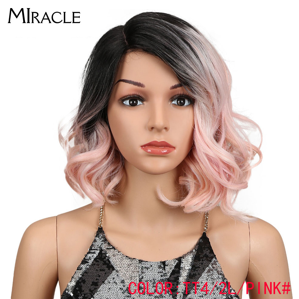 Miracle Wigs Hair Lace-Front Black Pink Fashion-Style Synthetic Ombre Wavy Loose American