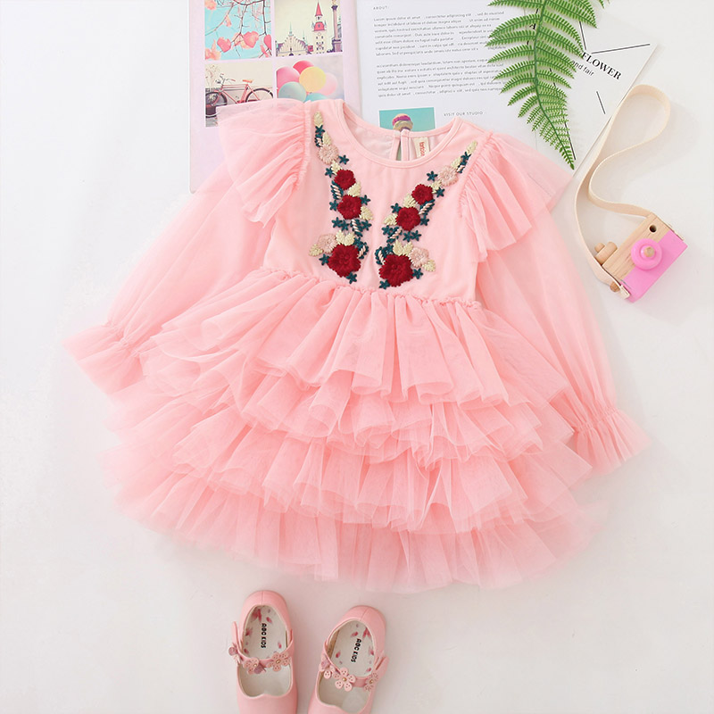 Fashion Girls Emboidery Tutu Dress Long Sleeves Kids Clothes Gymnastics Party Costume Performance Fluffy Dress for 3-10 Ys Child