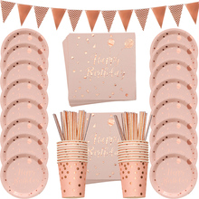 78pcs/set Rose Gold Happy Birthday Printing Disposable Tableware Set Paper Plate Cup Banner Napkins Party Dinnerware Deco
