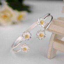 Винтажные модные 925 пробы серебряные браслеты для женщин подарок четыре цветка маргаритки браслет на запястье