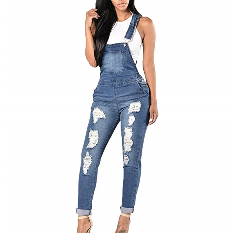 GAOKE 2020 New Lady Blue Denim Overalls Jumpsuit Rompers Belted Hole Hollow Out Pocket Women Casual Fashion Female Pants Hot