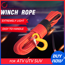 จัดส่งฟรีสีแดง 12 มม.* 30M ATV Winch Cable,เชือกUHMWPE,เชือกลากรถ,สายรัดพลาสมา