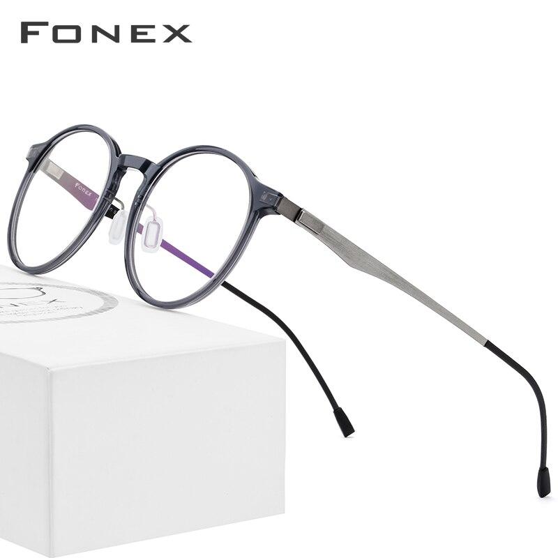 FONEX Acetate Optical Glasses Frame Women Retro Round Prescription Eyeglasses New Circle Myopia Spectacles Men Screwless Eyewear