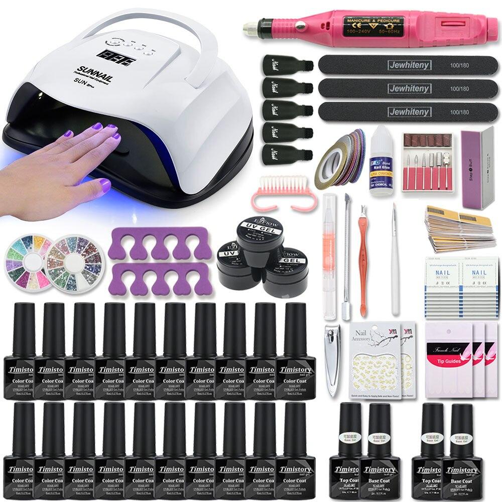 80 w lâmpada uv conjunto de unhas para manicure kit 10 & 20 cor gel verniz conjunto prego máquina broca kit ferramenta arquivo prego extensão conjunto