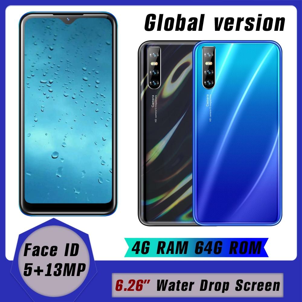 Face id разблокирована A50s смартфон капли воды Экран 4 ядра 13MP 4 Гб Оперативная память 64 Гб Встроенная память Android 6,26 дюймов мобильный телефон деш...