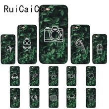 Ruicaica little Green leaf Illustration pattern TPU black Phone Case Cover Shell for iPhone 8 7 6 6S 6Plus X XS MAX 5 5S SE XR little girl pattern led flash light protective pc back cover case for iphone 5 5s pink