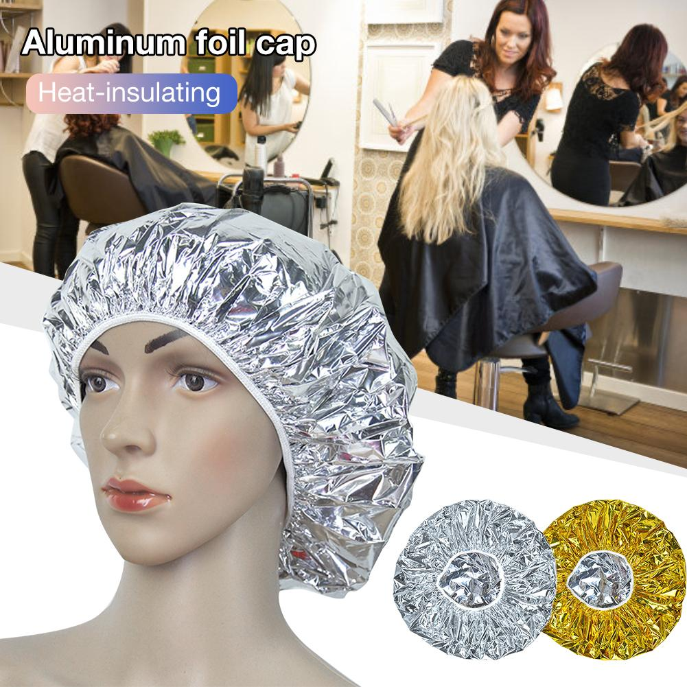 Shower Cap Heat Insulation Aluminum Foil Hat Elastic Bathing Cap For Women Hair Salon Bathroom