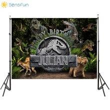 Sensfun Vinyl Customize Photo Background Jurassic Dinosaur Children Birthday Party Photography Backgrop Party Decoration 7X5FT