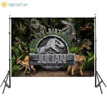 Vinile Sensfun personalizza sfondo fotografico dinosauro giurassico bambini festa di compleanno fotografia Backgrop decorazione per feste 7X5FT