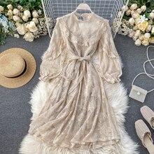 HISUMA spring new women chic o-neck lantern sleeve ruffles fairy A-line lace dress