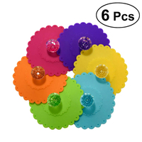 6pcs Silicone Anti dust Glass Diamond Cup lid Cover Coffee Mug Suction Lid Pad Silicone|Water Bottle & Cup Accessories| |  -