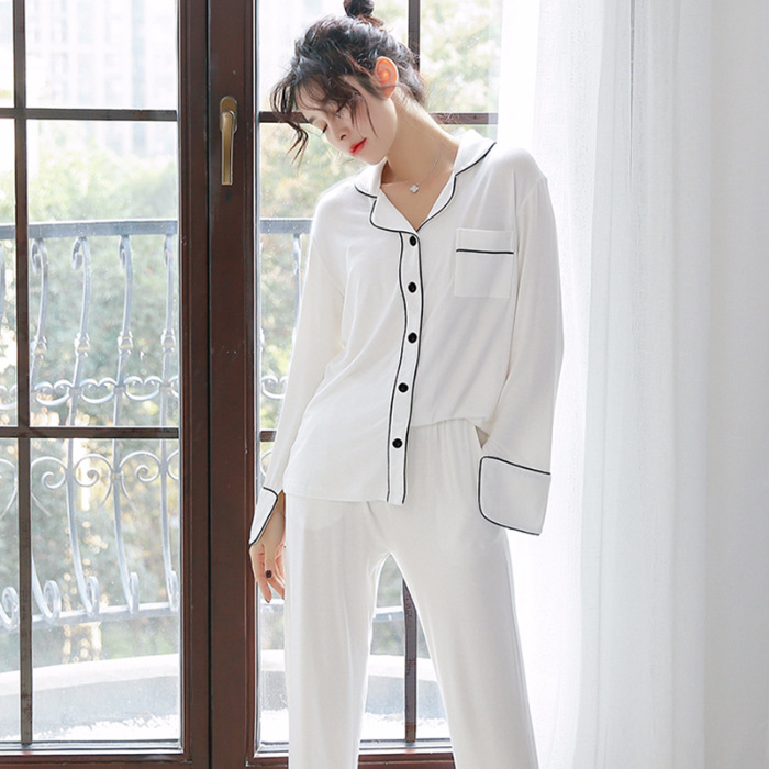 Creative New Products Cardigan Fold-down Collar Long Sleeve Pajamas Women's Autumn Pure Cotton White Black And White With Patter