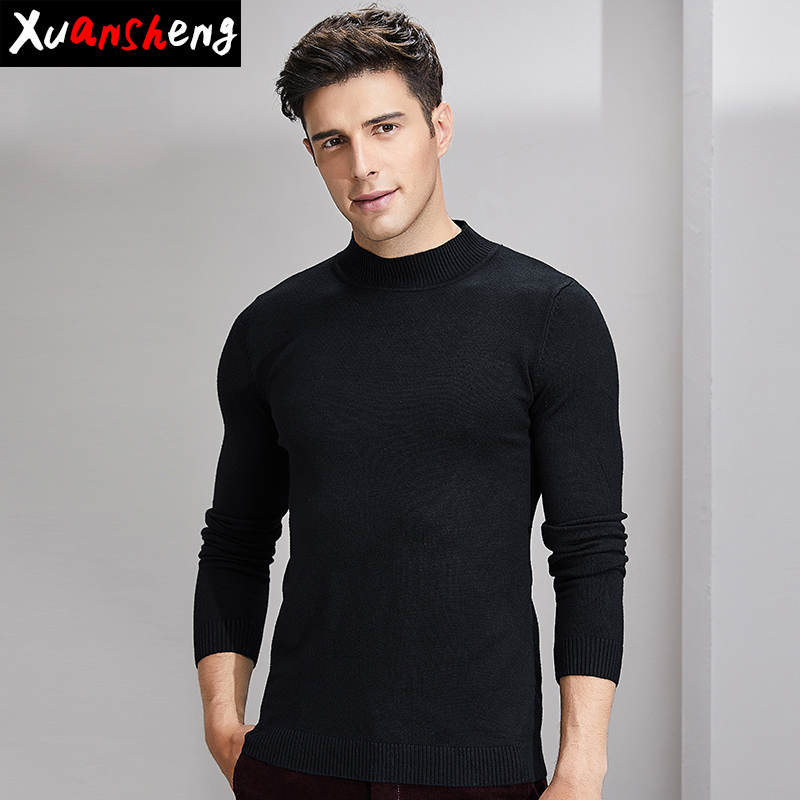 Slim-fit Men's Sweater 2019 New Autumn And Winter Classic Fashion Knit Collar White Gray Black Camel Pullover Streetwear Sweater