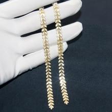 SLJELY Hohe Qualität Luxus 925 Sterling Silber Gepflastert Zirkonia Steine Lange Palm Blätter Fallen Ohrringe Frauen Mode Schmuck