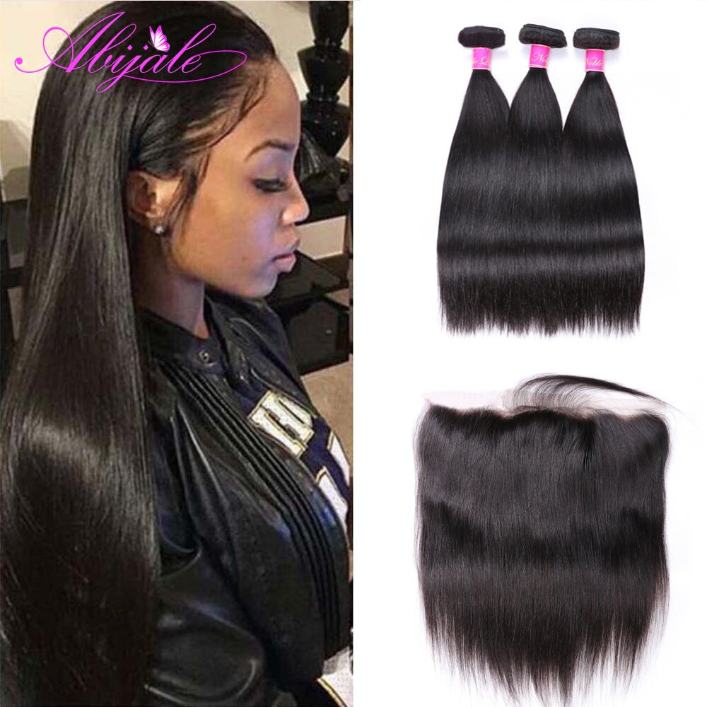 Прямые пряди волос с фронтальным закрытием бразильские пряди волос с фронтальным Remy пряди человеческих волос с закрытием