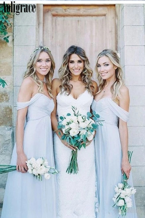 Aoligrace Bridesmaid Dresses Off Shoulder Folds Open Back Country Style 2020 Wedding Guest Gowns Cheap Maid Of Honor Dresses