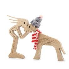 Humano e mulher de madeira cão artesanato estatueta escultura em madeira modelo criativo casa decoração do escritório mesa ornamento família filhote cachorro