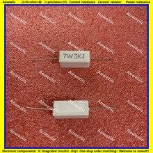 Resistência de energia cerâmica da precisão 5% da resistência cerâmica da resistência de 10 pces 7w3kj 7w3krrx27 resistência de cimento horizontal 7 w 3 k ohm 7w3k 3 k rj 3000r