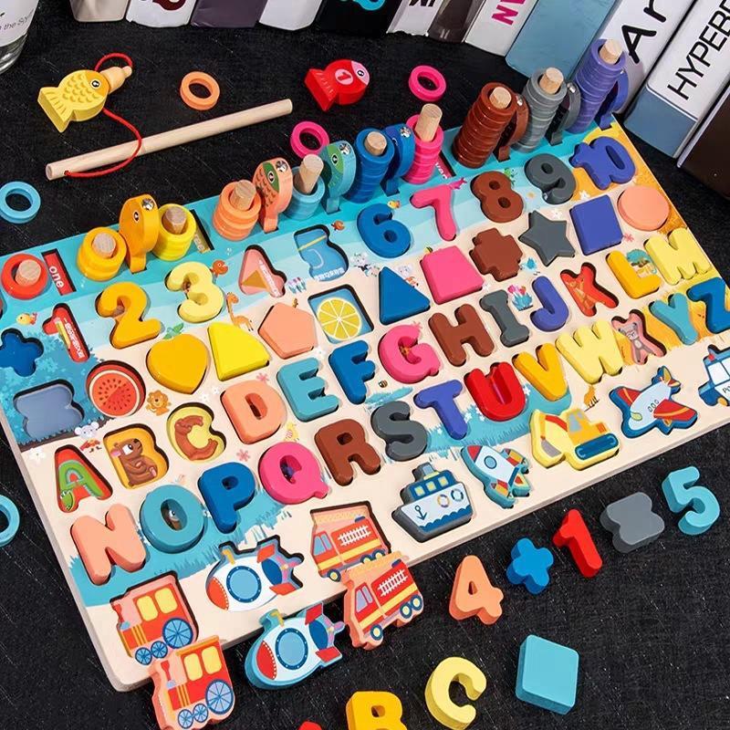 Обучающие деревянные игрушки Монтессори для детей, доска, математическое число рыболовных счетчиков, Цифровая форма, подходит для раннего ...