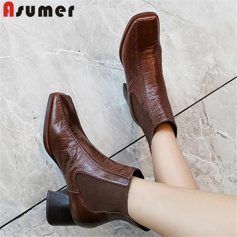 ASUMER Shoes Women Boots Square-Heels Autumn Genuine-Leather Fashion New Slip-On Spring