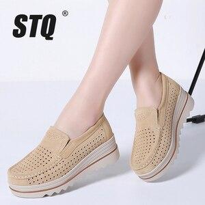 Image 4 - Baskets en cuir daim pour femme, STQ 2020, chaussures de printemps chaussures plates, à talons plats, mocassins chaussures décontractées