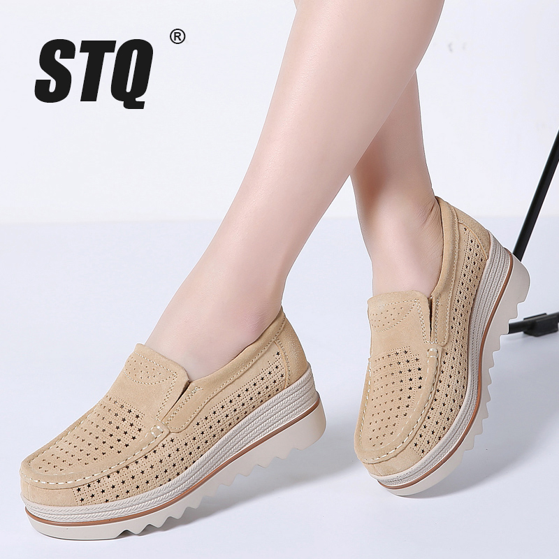Image 4 - STQ 2020 Spring Women Flats Shoes Platform Sneakers Shoes Leather Suede Casual Shoes Slip On Flats Heels Creepers Moccasins 3088women flats shoesflats shoesslip on flats -