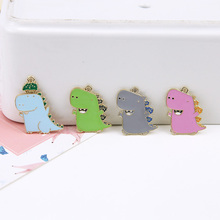 10pcs Fun Little Dinosaur Alloy Enamel Charms Drop Oil Pendants Earrings Handmade DIY Jewelry Accessories FX093